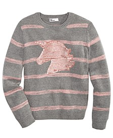 Big Girls Striped Unicorn Sweater, Created For Macy's