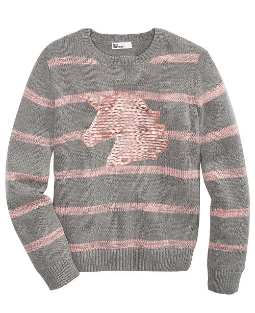 Epic Threads Big Girls Striped Unicorn Sweater, Created For Macy's