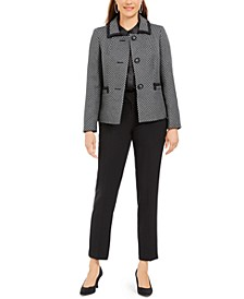 Slim-Leg Contrast-Trim Pants Suit