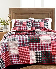 Martha Stewart Collection Holiday Patchwork Quilt Collection, Created For Macy's