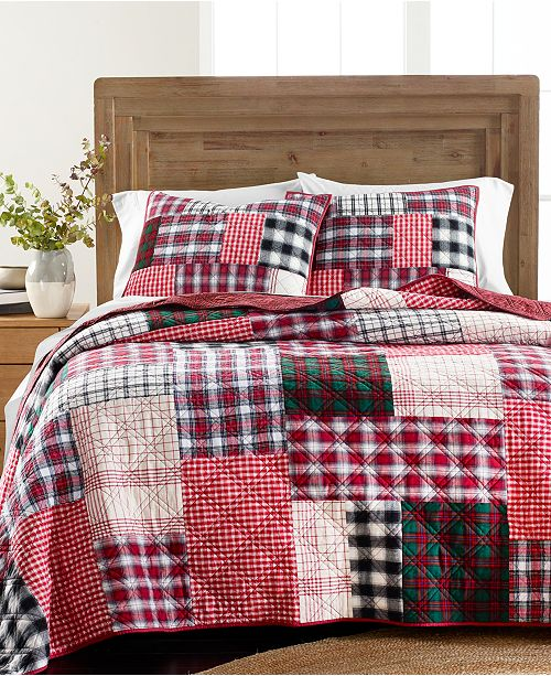Martha Stewart Collection Holiday Patchwork Full/Queen Quilt, Created For Macy's