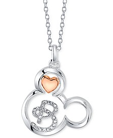 "Mickey Mouse Initial Pendant Necklace in Two-Tone Silver-Plate, 16""+ 2"" extender"