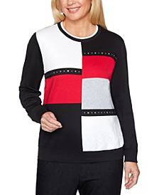Well Red Colorblocked Studded Top