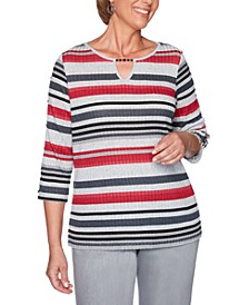 Well Red Melange Stripe Slit-Sleeve Knit Top