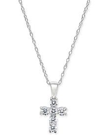 "Diamond Baby Cross 18"" Pendant Necklace (1/5 ct. t.w.) in 14k White, Yellow or Rose Gold"