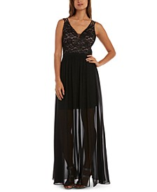 Juniors' Lace-Bodice Gown