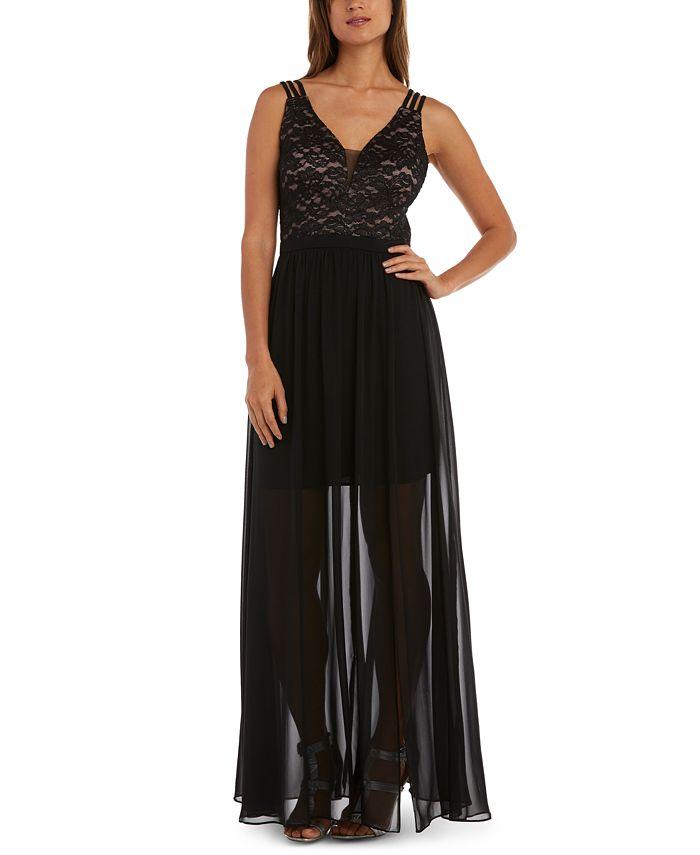 Morgan & Company - Juniors' Lace-Bodice Gown
