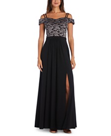 Morgan & Company Juniors' Off-The-Shoulder Lace Gown