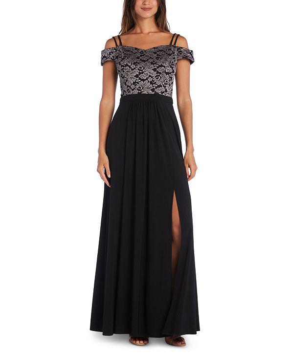 Morgan & Company Juniors' Off-The-Shoulder Lace Gown