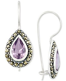 Amethyst (2-3/4 ct. t.w.) & Marcasite Teardrop Drop Earrings in Sterling Silver