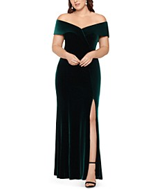 Plus Size Off-The-Shoulder Velvet Gown