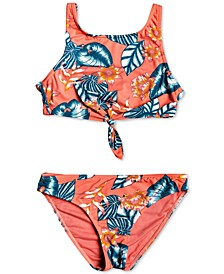 Big Girls 2-Pc. Floral Time Tie-Front Bikini