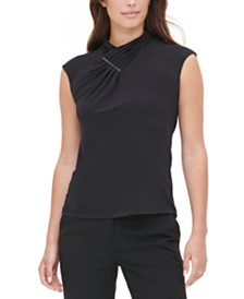 Calvin Klein Gathered Mock-Neck Top
