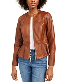 INC Petite Faux-Leather Peplum Jacket, Created For Macy's
