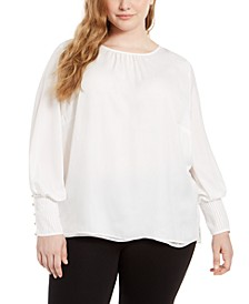 Plus Size Smocked Blouson-Sleeve Top