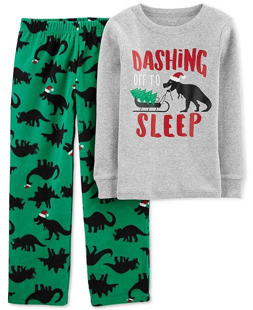 Carter's Little & Big Boys 2-Pc. Holiday Dino Pajamas Set