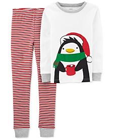 Little & Big Boys 2-Pc. Cotton Holiday Penguins Pajamas Set