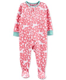 Toddler Girls 1-Pc. Unicorn-Print Fleece Footie Pajamas