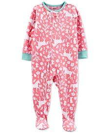 Toddler Girls 1-Pc. Unicorn-Print Fleece Footie Pajamas