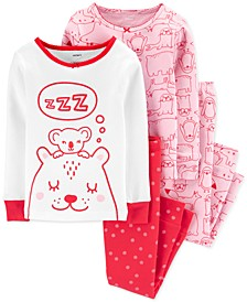 Toddler Girls 4-Pc. Cotton Snug-Fit Bear Pajamas Set