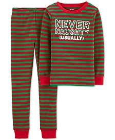 Little & Big Boys 2-Pc. Thermal Never Naughty Pajamas Set