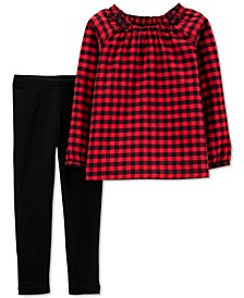 Baby Girls 2-Pc. Buffalo-Check Twill Top & Leggings Set