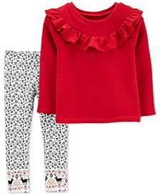 Baby Girls 2-Pc. Ruffled Fleece Top & Printed Leggings Set
