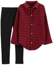 Little & Big Girls 2-Pc. Buffalo Check Shirt & Leggings Set