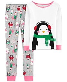 Little & Big Girls 2-Pc. Snug-Fit Cotton Penguin Pajamas Set