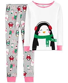 Little & Big Girls 2-Pc. Snug-Fit Cotton Penguin Pajamas Set