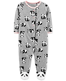 Baby Girls Footed Fleece Panda Coverall
