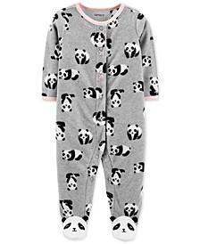Baby Girls Footed Fleece Panda Coverall
