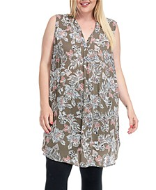 Trendy Plus Size Tunic Dress with Side Metal Buttons
