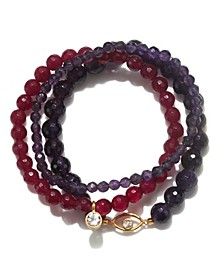 Amethyst & Fuchsia Agate Gold Eye Stretch Bracelet Set
