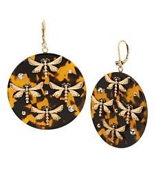 Betsey Johnson Dragonfly Tortoise Drop Earrings