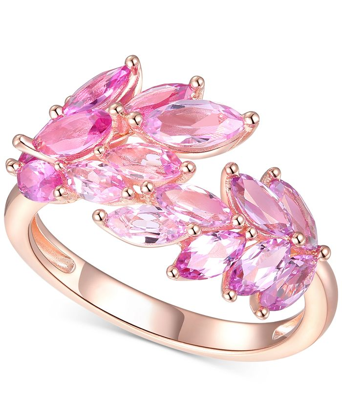 Macy's - Lab-Created Pink Sapphire Leaf Statement Ring (2 ct. t.w.) in 14k Gold-Plated Sterling Silver