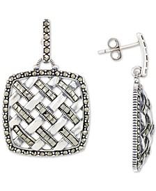 Marcasite Weave Openwork Drop Earrings in Sterling Silver