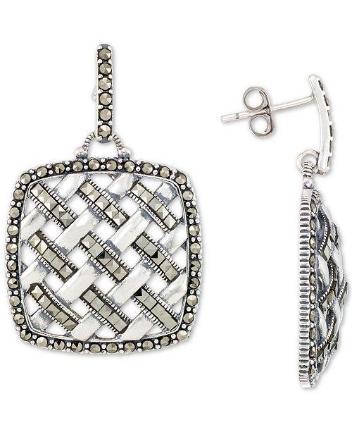 Macy's Marcasite Weave Openwork Drop Earrings in Sterling Silver