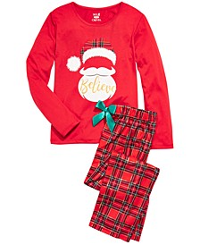 Big Girls 2-Pc. Believe Santa Pajama Set