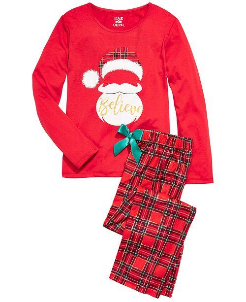 Max & Olivia Big Girls 2-Pc. Believe Santa Pajama Set
