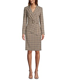 Plaid Asymmetrical Jacket, Crewneck Top & Plaid Pencil Skirt
