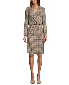 Tahari ASL Plaid Asymmetrical Jacket, Crewneck Top & Plaid Pencil Skirt