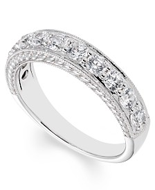 Diamond (1 ct. t.w.) Engraved Band in 14k White Gold
