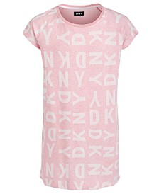 DKNY Big Girls Logo-Print Jacquard T-Shirt Dress