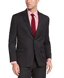 Men's Classic-Fit Charcoal Sharkskin Suit Jacket