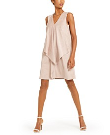 Draped Faux-Suede Shift Dress