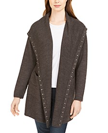Petite Hooded Studded Cardigan, Created For Macy's
