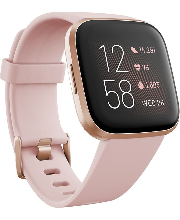 Fitbit Versa 2 Rose Elastomer Strap Touchscreen Smart Watch 39mm