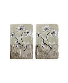 Magnolia Floral 2-Pc. Hand Towel Set