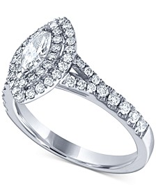 Diamond Marquise Double Halo Statement Ring (1 ct. t.w.) in 14k White Gold